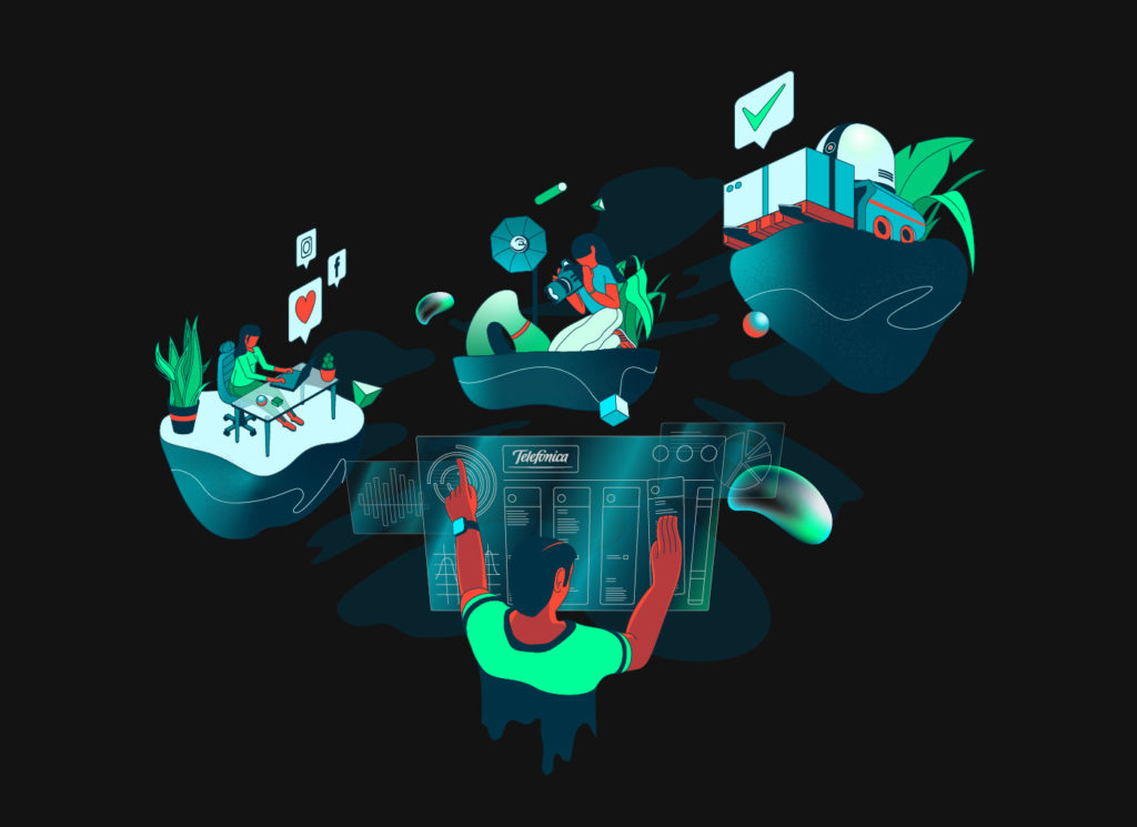 Telefónica ilustración trasformación digital